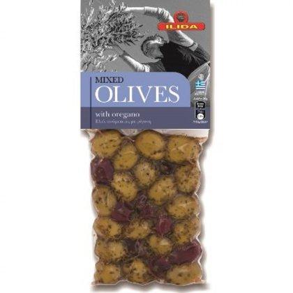 Jauktās kalamata un zaļās olīvas ar oregano un bukova pipariem, 150 g