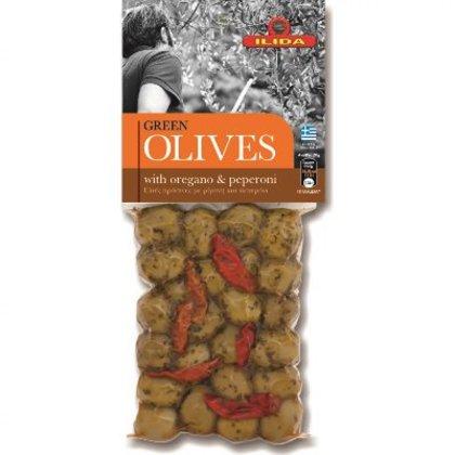 Zaļās olīvas ar oregano un peperoni pipariem, 150 gr